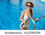 portrait of a beautiful woman... | Shutterstock . vector #411589294