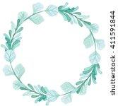wreath with watercolor light...   Shutterstock . vector #411591844