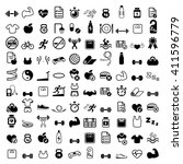 sport and fitness 100 icon set   Shutterstock .eps vector #411596779