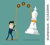 businessman reaching success.... | Shutterstock .eps vector #411610444