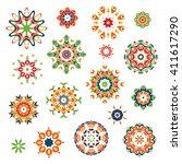 mandalas set. round floral...   Shutterstock .eps vector #411617290