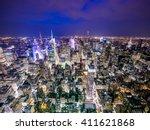 new york late sunset skyline | Shutterstock . vector #411621868