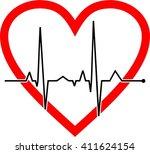 heart beat rate cardiogram card ... | Shutterstock .eps vector #411624154