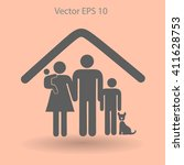 family with a pet vector... | Shutterstock .eps vector #411628753