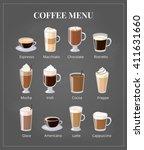 coffee menu on chalkboard.... | Shutterstock .eps vector #411631660