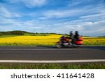 motion blur red motorcycle... | Shutterstock . vector #411641428