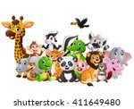 Stock vector cartoon wild animals background 411649480