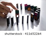 Man Hands Playing Domino On...