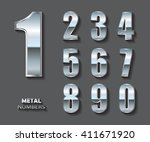 set of metal numbers.vector... | Shutterstock .eps vector #411671920