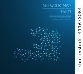 haiti network map. abstract... | Shutterstock .eps vector #411673084
