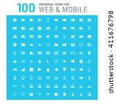 vector white 100 universal web... | Shutterstock .eps vector #411676798