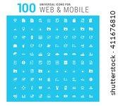 vector white 100 universal web... | Shutterstock .eps vector #411676810