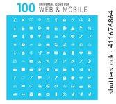 vector white 100 universal web... | Shutterstock .eps vector #411676864