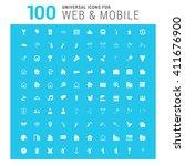 vector white 100 universal web...   Shutterstock .eps vector #411676900