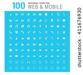 vector white 100 universal web... | Shutterstock .eps vector #411676930