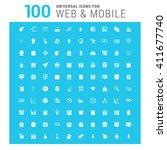 vector white 100 universal web... | Shutterstock .eps vector #411677740