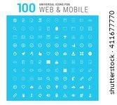 vector white 100 universal web...   Shutterstock .eps vector #411677770