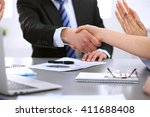 business people shaking hands ... | Shutterstock . vector #411688408