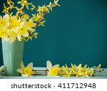 Daffodil In Vase On Green...
