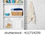 bathroom set with towels ... | Shutterstock . vector #411714250