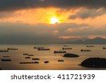 A Lot Of Cargo Ships In Laem...