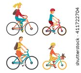 bicycle set for family ride.... | Shutterstock . vector #411722704