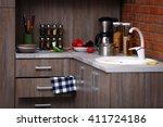 modern kitchen furniture with... | Shutterstock . vector #411724186