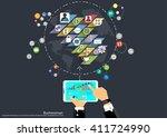 vector businessman top corner... | Shutterstock .eps vector #411724990