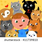 young cartoon boy with a lot of ... | Shutterstock .eps vector #411739810