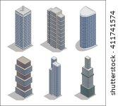 modern skyscrapers. isometric... | Shutterstock .eps vector #411741574