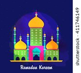 creative colourful mosque on... | Shutterstock .eps vector #411746149