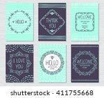 vector vintage greeting cards... | Shutterstock .eps vector #411755668