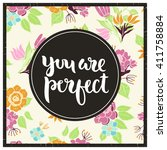 vector floral card with... | Shutterstock .eps vector #411758884
