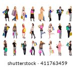 shopping spree bags full  | Shutterstock . vector #411763459