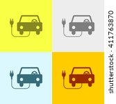 car charging icon on four... | Shutterstock .eps vector #411763870