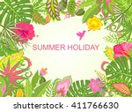 summer holiday tropical... | Shutterstock .eps vector #411766630