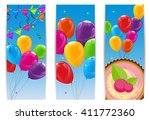 color glossy happy birthday... | Shutterstock .eps vector #411772360