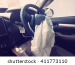 Small photo of Car crash or accident, Airbag, Inside.