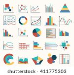 diagrams flat icons and graphs... | Shutterstock .eps vector #411775303