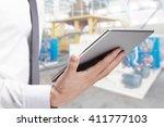 double exposure of businessman...   Shutterstock . vector #411777103