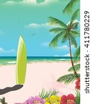 surfboard on the beach during... | Shutterstock . vector #411780229