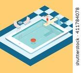 swimming pool inside tablet....   Shutterstock .eps vector #411784078