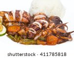 squid grilled with vegetables... | Shutterstock . vector #411785818