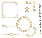 vintage set. floral elements... | Shutterstock . vector #411787600
