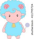 a little blue sheep is holding... | Shutterstock .eps vector #411795724