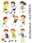children playing different... | Shutterstock .eps vector #411798979