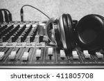 headphone on sound mixer