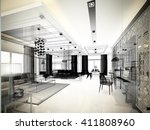 sketch design of living  3dwire ... | Shutterstock . vector #411808960