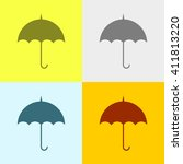 umbrella icon on four different ... | Shutterstock .eps vector #411813220