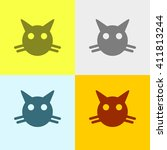 Cat Icon On Four Different...